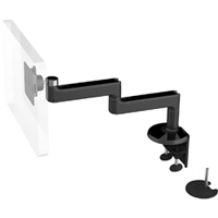 Humanscale M8 Arm with Dual Mount Clamp and Bolt Through, Fixed Straight Link/Fixed Straight Link and Black