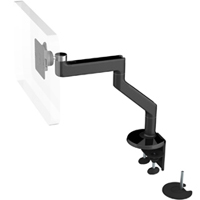 Humanscale M8 Arm with Dual Mount Clamp and Bolt Through, Fixed Angled Link/Fixed Straight Link and Black