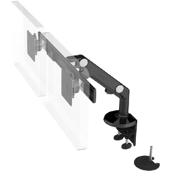 Humanscale M8 Dual Arm with Dual Mount Clamp and Bolt Through, Dynamic Link only and Black