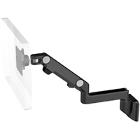 Humanscale M8 Arm with Direct Hardwall Mount, Fixed Straight Link/Dynamic Link and Black