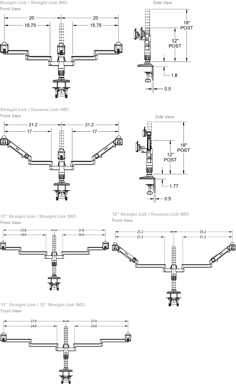 Technical drawing for Humanscale MF2 M/Flex Monitor Arm for M2 Arms