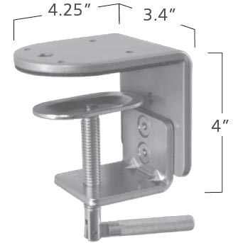 ISE MA2000-201B Standard Clamp Desk Mount Silver