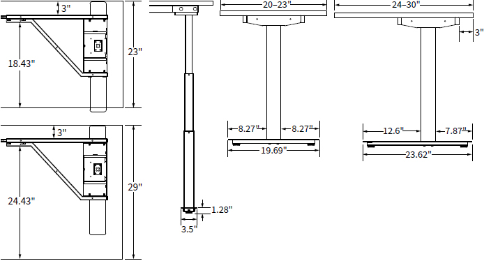 Dimensions of ISE Rise Electric Height Adjustable Workcenter