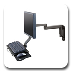 Innovative 9300-HD-DE Articulating Wall Mounted Data Entry Arm with Keyboard Tray