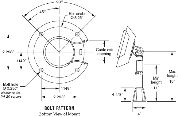 Technical Drawing for Innovative 9183-15 or 9183-15-RS Adjustable POS Countertop Mount