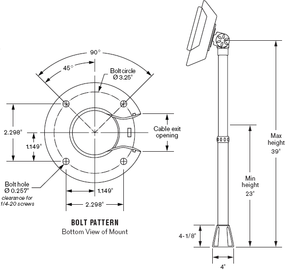 Technical Drawing for Innovative 9183-39 or 9183-39-RS Adjustable POS Telescoping Mount