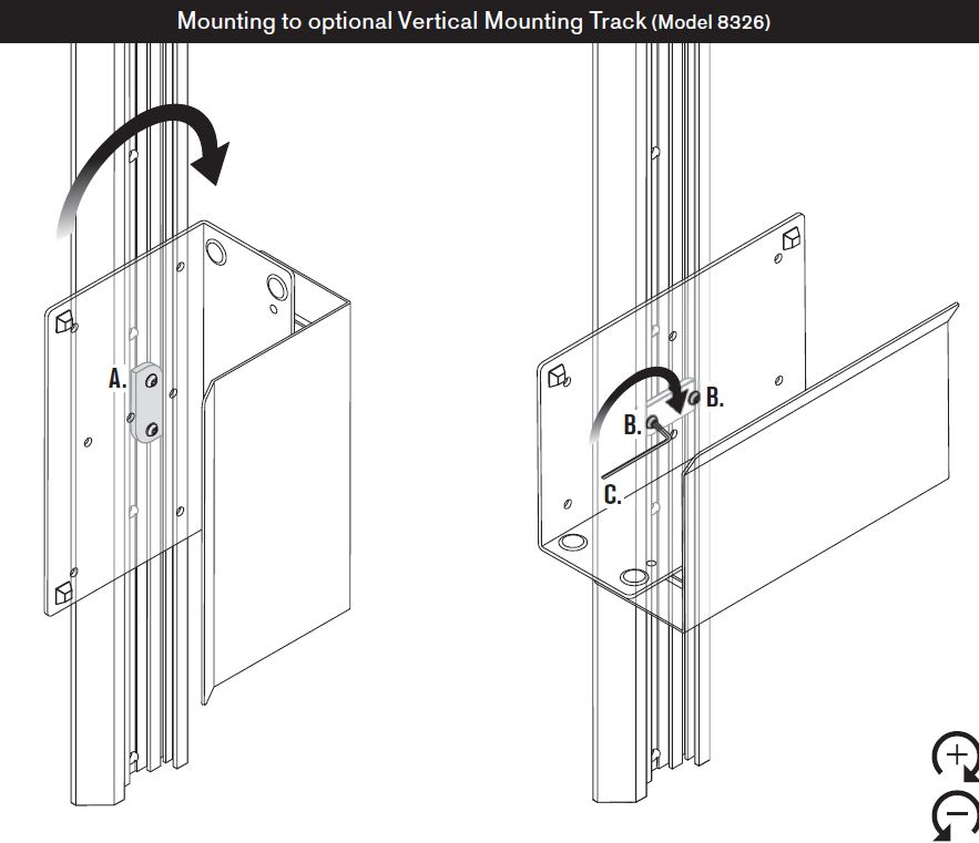 Mount to 8326 vertical mounting track