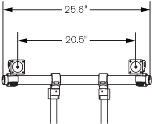 "Technical Drawing for Innovative 9169-2-2P ArcView Dual Monitor Beam with two 12"" Mounting Poles"