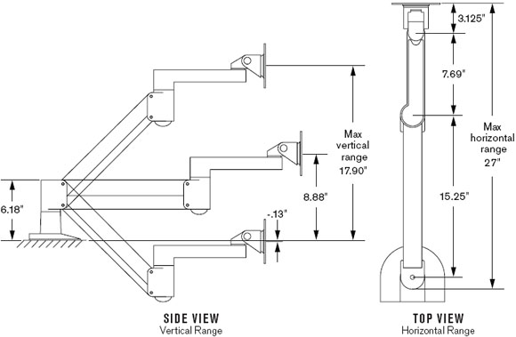 Dimensional Diagram for 7500 Deluxe Flat Panel Radial Arm with 27 inch Reach