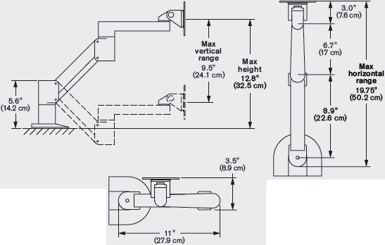 "Technical Drawing for Innovative 3500-250-NM Short Reach Radial Arm (18"")"