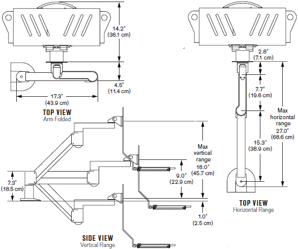 Technical Drawing for Innovative 7509 LCD Data Entry LED Arm