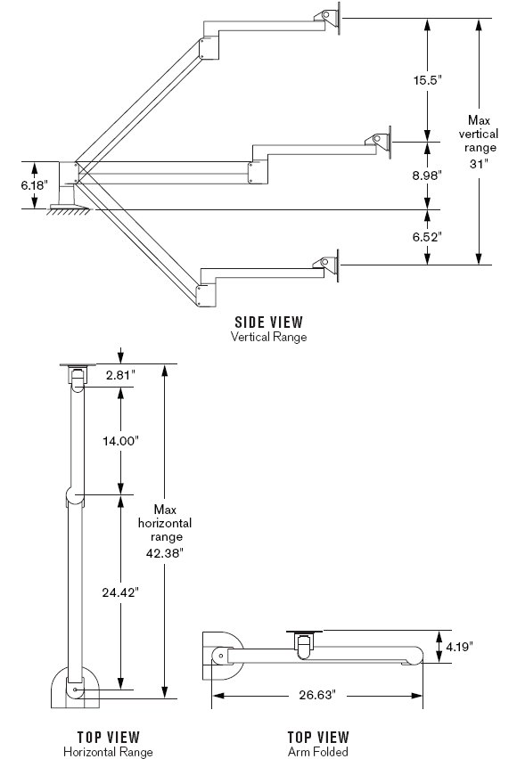 "Drawing for Innovative 7601-14-1000 Long Reach (42"") Flat Panel Radial LCD Monitor Arm"