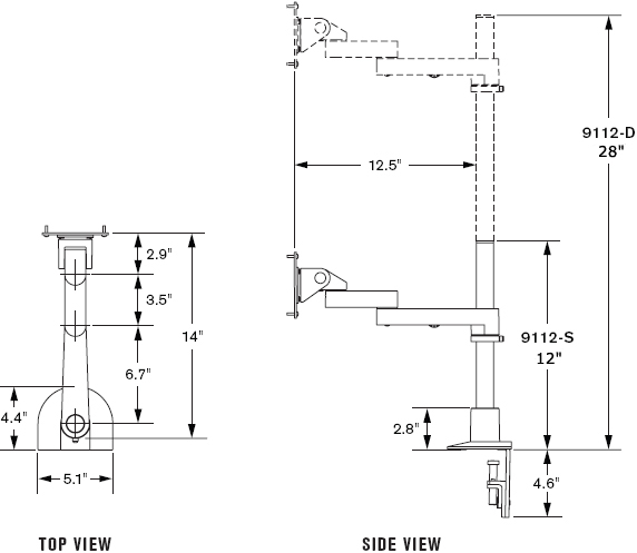 Technical Drawing for Innovative 9112-D-28-FM Articulating Dual LCD Pole Mount