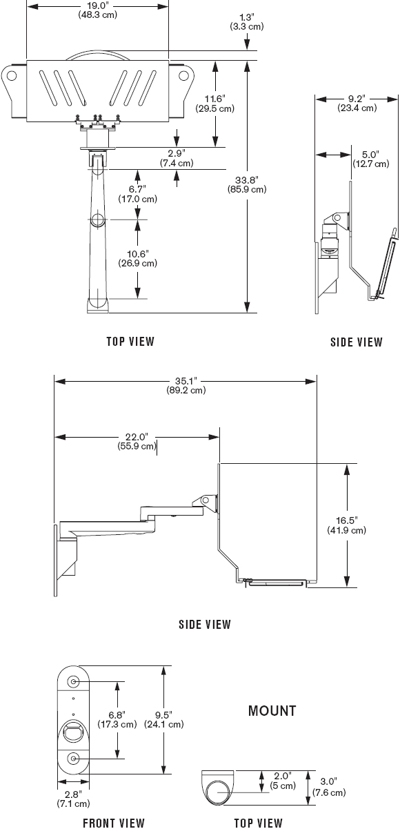 Technical Drawing for Innovative 9300-HD-DE Articulating Wall Mounted Data Entry Arm