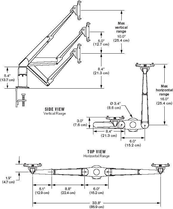 Technical Drawing for Innovative 5545-8408 Dual EVO LCD Arm Mount for Two Monitors