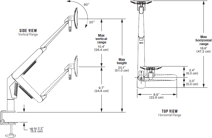Technical Drawing for Innovative 5700-DC-SPM EVO II Desk Clamp Mount LCD Monitor Arm