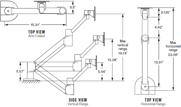 Technical Drawing for Innovative 7045 LCD Monitor Radial Arm with Fixed 45° Forearm