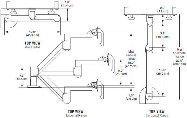 Technical Drawing for Innovative 7516 Healthcare LCD Arm with Handles