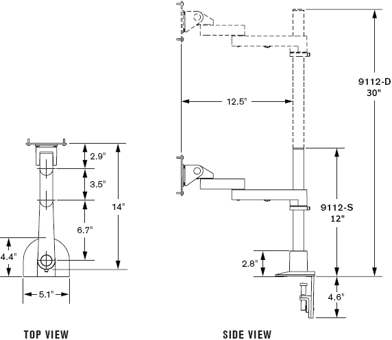 "Technical Drawing for Innovative 9112-S-30-NM Articulating LCD Pole Mount Arms with 30"" Pole and 14"" Horizontal Reach"