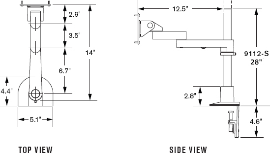 "Technical Drawing for Innovative 9112-S-28-NM Articulating LCD Pole Mount Arms with 28"" Pole and 14"" Horizontal Reach"