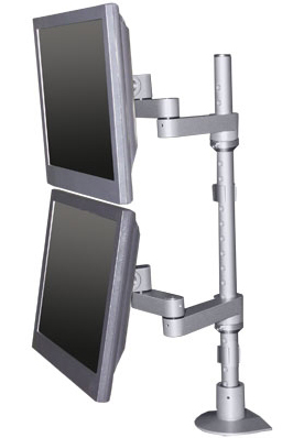 "Innovative 9114-D-28 Euro series Articulating Dual LCD Pole Mount Arm with 28"" Standard Pole and 14"" Horizontal Reach"
