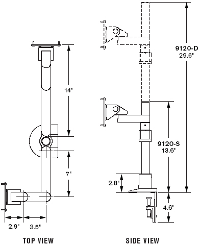 "Technical Drawing for Innovative 9120-D-28 Quad Monitor LCD Pole Mount Arm with 28"" Pole"
