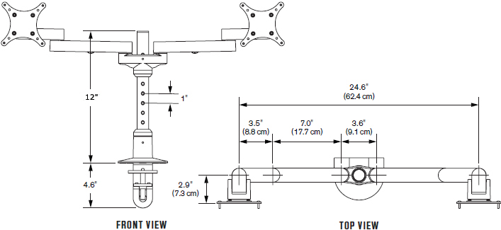 "Technical Drawing for Innovative 9124-S-12 EURO Series Dual Side By Side LCD Arm with 12"" Pole"