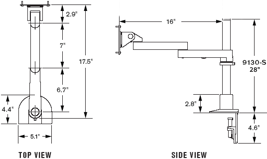 "Technical Drawing for Innovative 9130-S-28-NM Long Reach LCD Pole Mount Arms with 28"" Pole and 16"" Horizontal Reach"