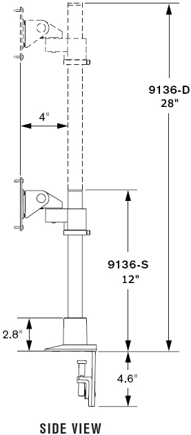 "Technical Drawing for Innovative 9136-D-28 Articulating Dual 28"" LCD Pole Mount"