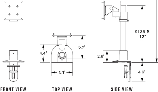 "Technical Drawing for Innovative 9136-S-12-NM Articulating 12"" LCD Pole Mount"