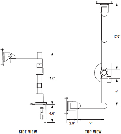 "Technical Drawing for Innovative 9163-S-12 Dual Large LCD Monitor Side By Side Arm with 12"" Pole"