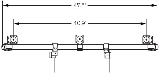 "Technical Drawing for Innovative 9169-3-2P ArcView Triple Monitor Beam with two 12"" Mounting Poles"