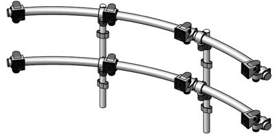 Innovative 9169-D-4 ArcView Two Tier Quad Monitor Beams with two Mounting Poles