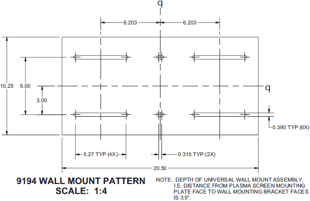 Technical Drawing for Innovative 9194 Large LCD Display Wall Mount