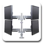 "Innovative 9198-4 Quadropod LCD Pole Mount for Four Flat Panel Monitors with 24"" Pole and 24"" Horizontal Range"