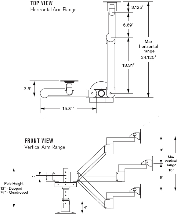 Technical Drawing for Innovative 9198-2 Duopod LCD Pole Mount System