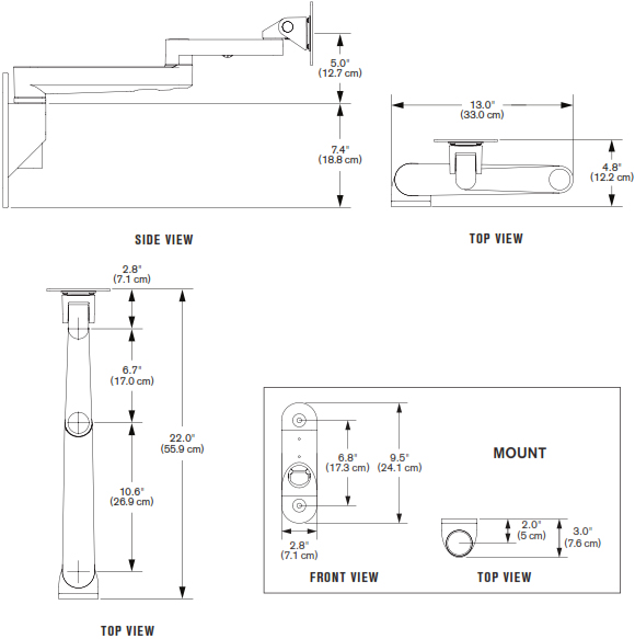 Technical Drawing for Innovative 9300-HD Articulating LCD Wall Mount Arm