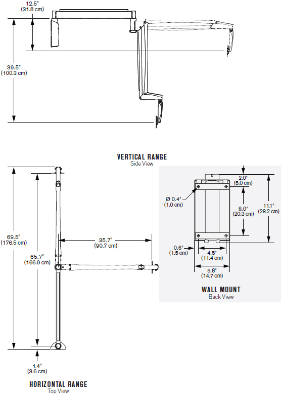 Technical Drawing for Innovative 9450 Long Reach Point of Care Wall Mount Arm