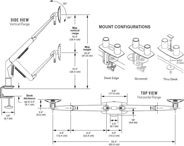 Technical Drawing for Innovative 5702-DC EVO Dual LCD Arm