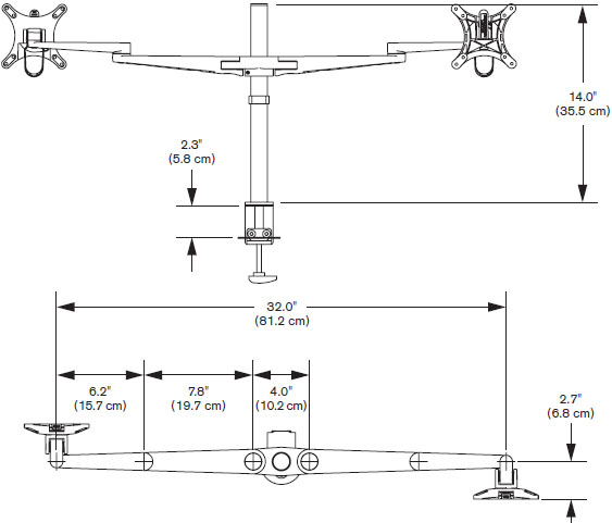Technical Drawing for Innovative 5801 EVO Dual Pole Arm