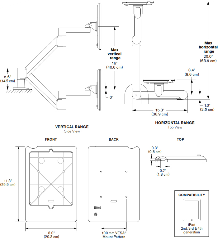 Technical drawing for Innovative 7000-8438 Flexible iPad Mount