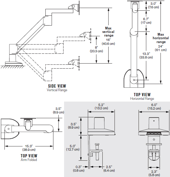 Technical Drawing for Innovative 7000-Busby LCD Monitor Arm with Integrated USB Hub