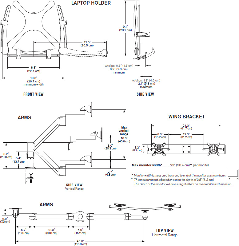 Technical Drawing for Innovative 7050-Switch Dual LCD Monitor and Tablet Mount