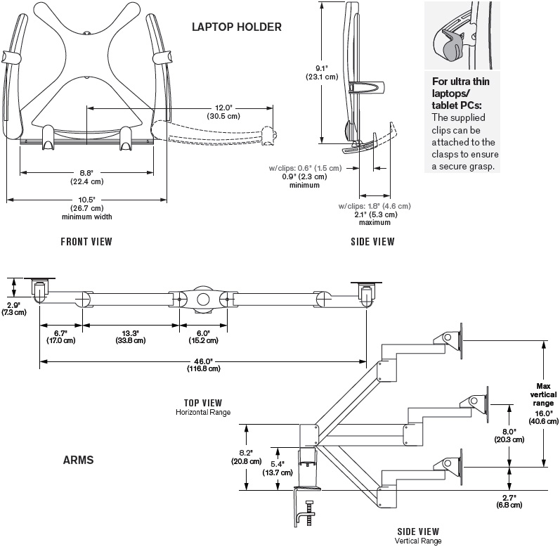Technical Drawing for Innovative 7050 Notebook/Tablet PCs and LED Monitor Mount