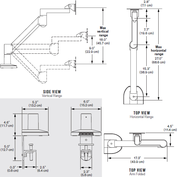 Technical Drawing for Innovative 7500-Busby Deluxe LCD Arm with Integrated USB Hub