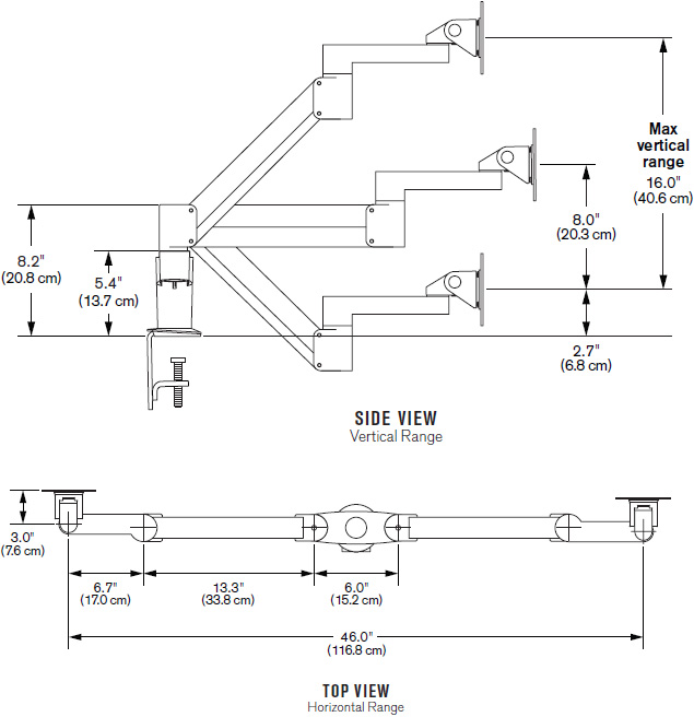 Technical drawing for Innovative 7Flex-Dual-104i Dual 7Flex Monitor Arm