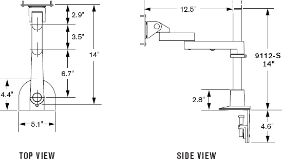 "Technical Drawing for Innovative 9112-S-14 Articulating LCD Mount with 14"" Pole"