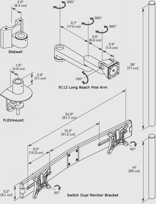 "Technical Drawing for Innovative 9112-SWITCH-D-28 Articulating Quad Arm with 28"" Pole"