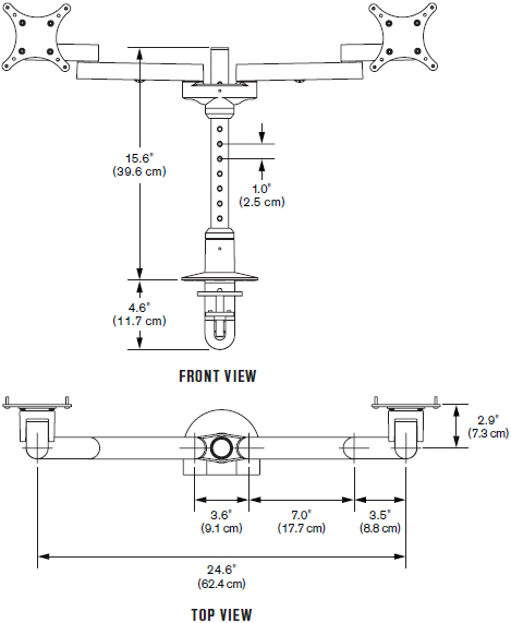 Technical drawing for Innovative 9124-S-14 EURO Series Side-by-Side Dual LCD Mount
