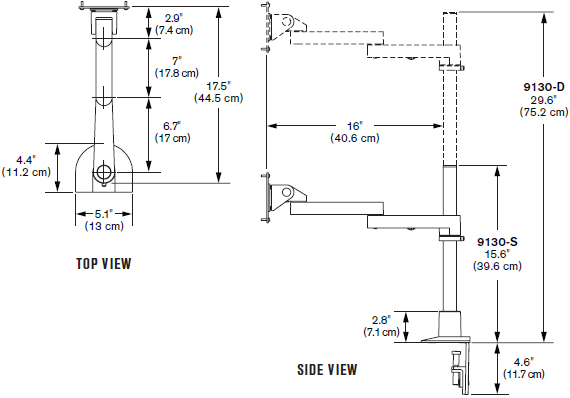 Technical drawing for Innovative 9130-S-14 Long Reach Flat Panel LCD Mount